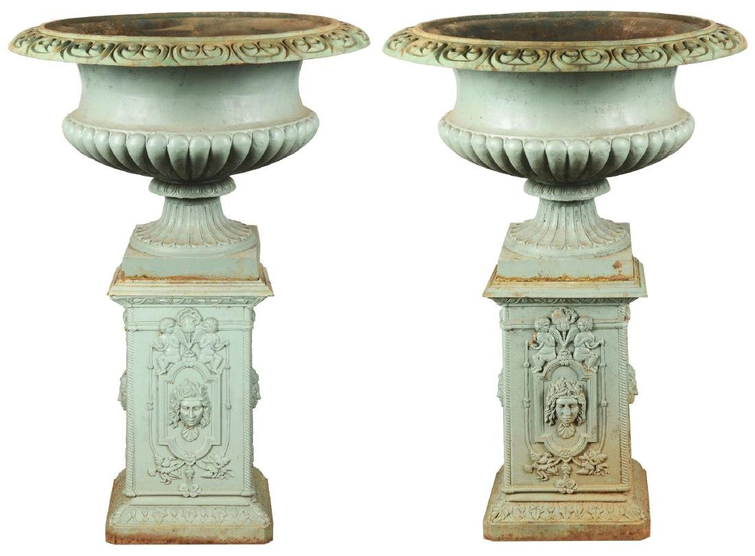 Monumental Victorian Pair of Cast Iron Campagna Form