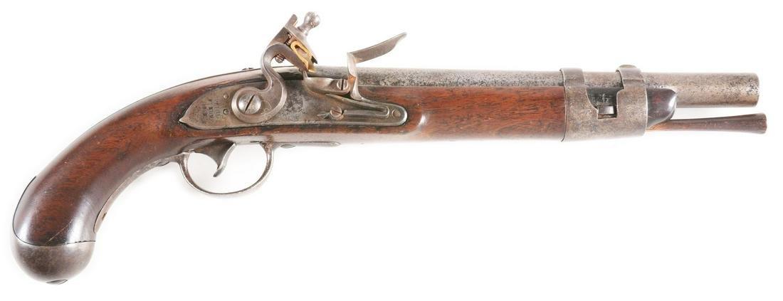 (A) RARE MODEL 1817 US MARTIAL FLINTLOCK PISTOL BY
