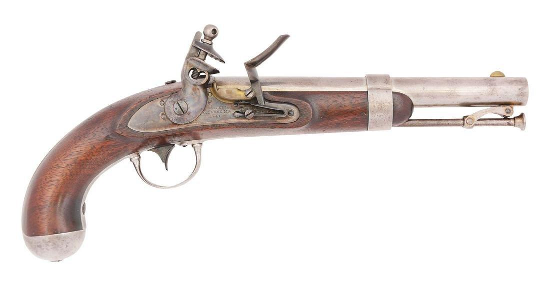 (A) A FINE US 1836 FLINTLOCK SINGLE SHOT MARTIAL PISTOL