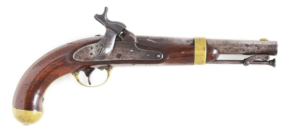 (A) RARE US SINGLE SHOT 1842 MARTIAL PISTOL WITH