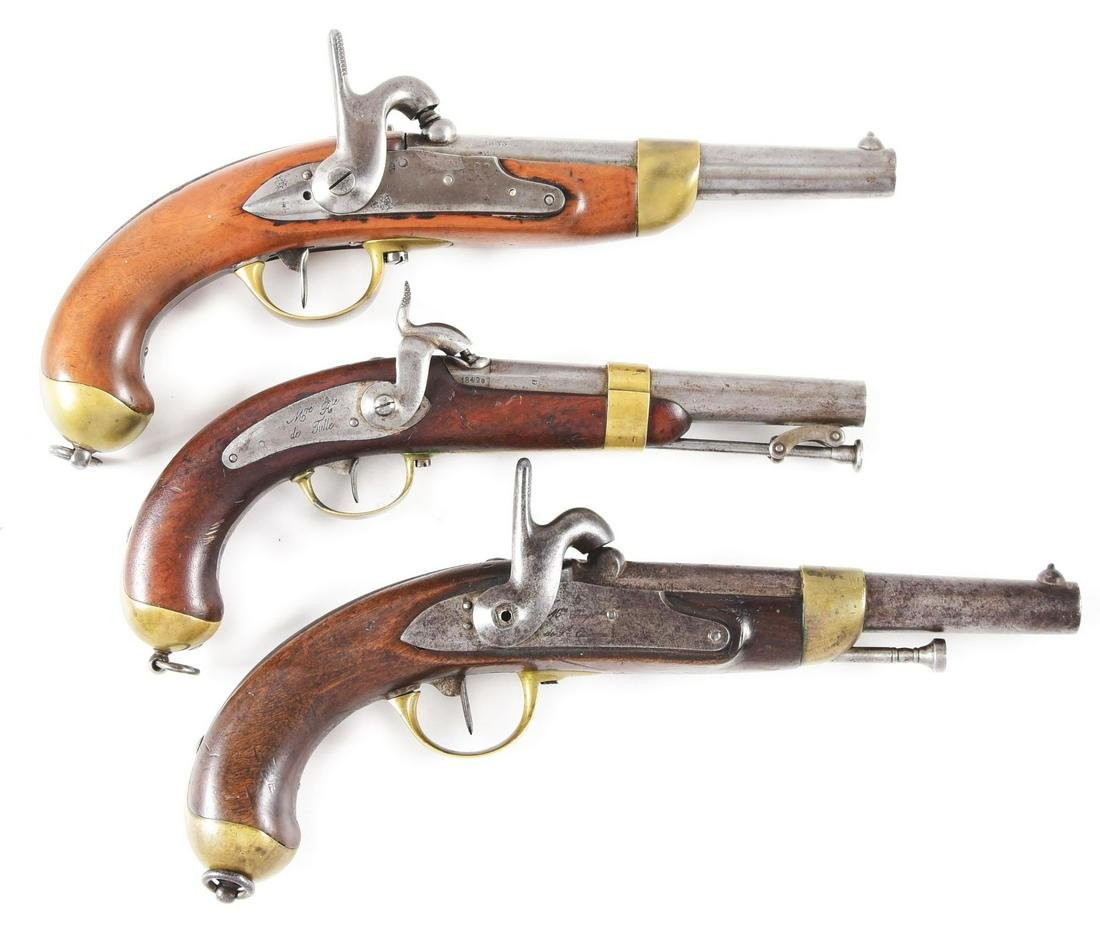 (A) LOT OF THREE: THREE FRENCH PERCUSSION PISTOLS, ONE
