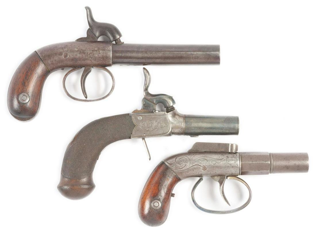 (A) LOT OF THREE: THREE ANTIQUE SINGLE SHOT PERCUSSION