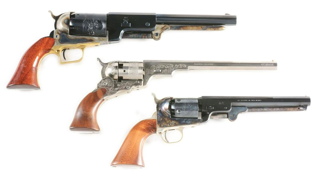 (A) LOT OF 3 PERCUSSION REVOLVERS FROM UBERTI AND