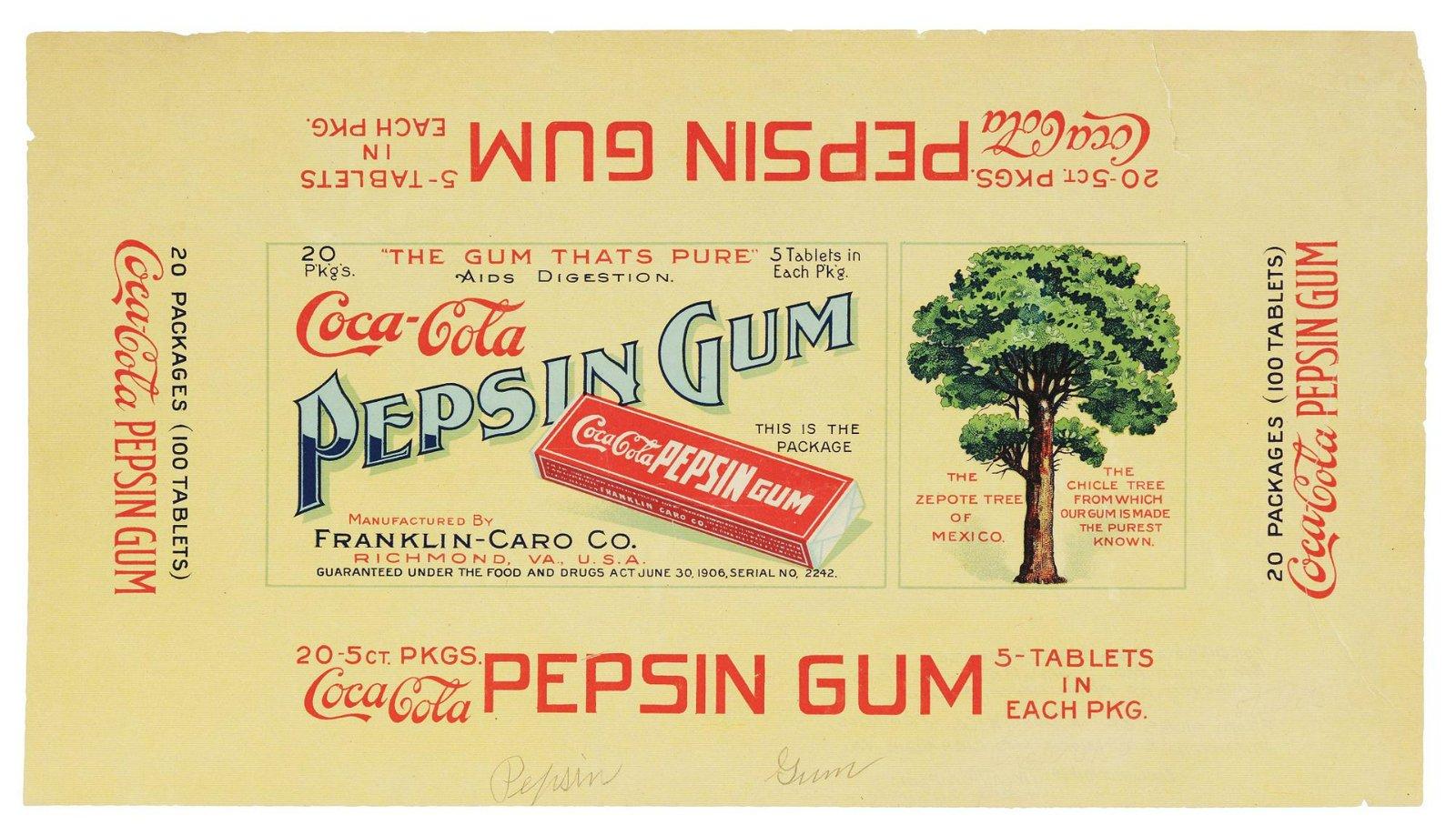 Coca-Cola Chewing Gum Shipping Box Label.