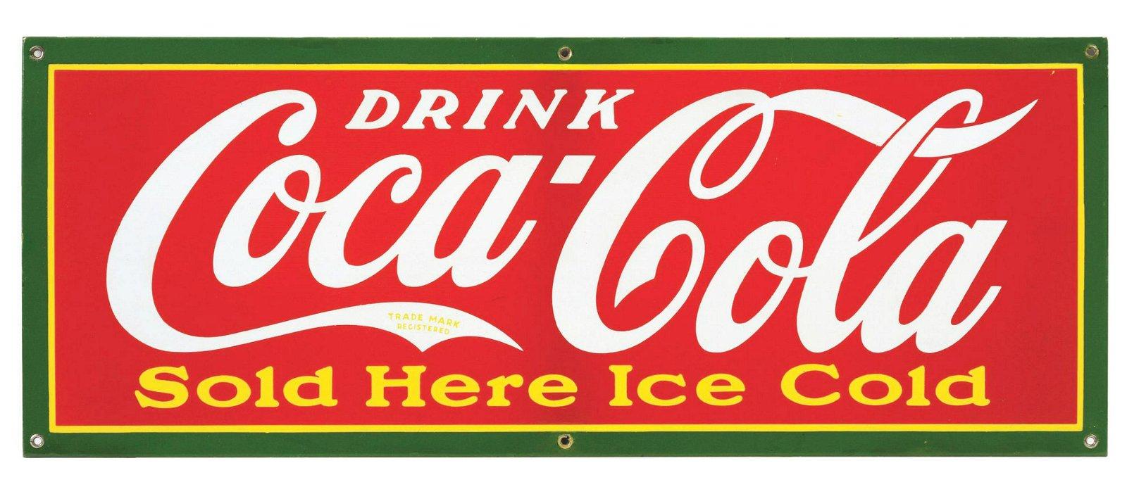 1920s - 1930s Coca-Cola Four-Color Porcelain Sign.
