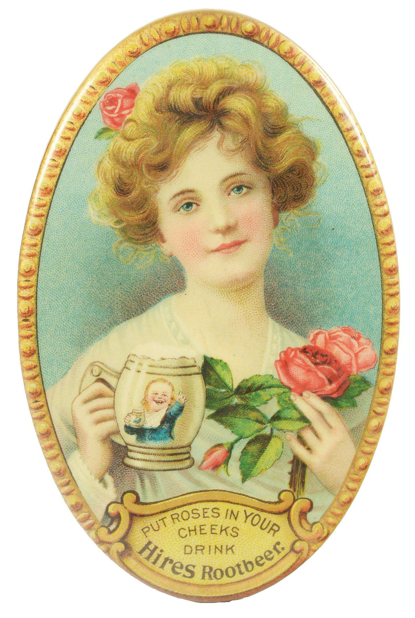 Circa 1905 Hires Root Beer Pocket Mirror.