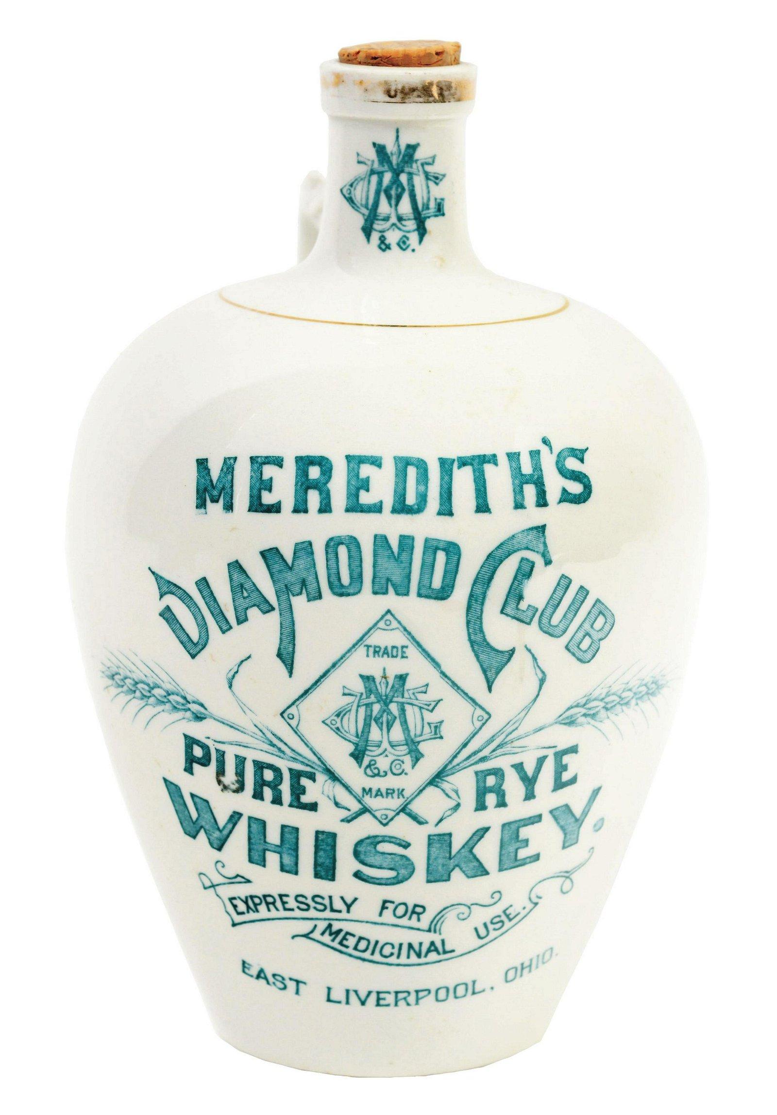 Meredith's Diamond Club Pure Rye Whiskey Jug.
