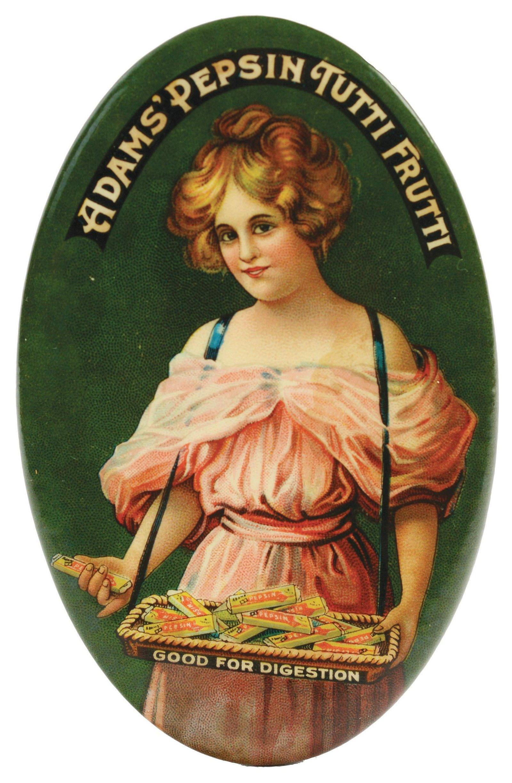 1905 - 1910 Adams' Pepsin Tutti Frutti Pocket Mirror.