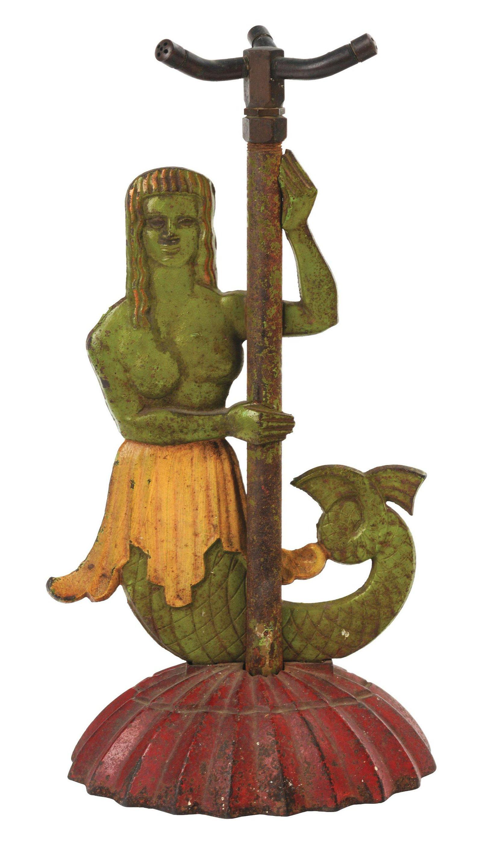 Cast-Iron Mermaid Lawn Sprinkler.