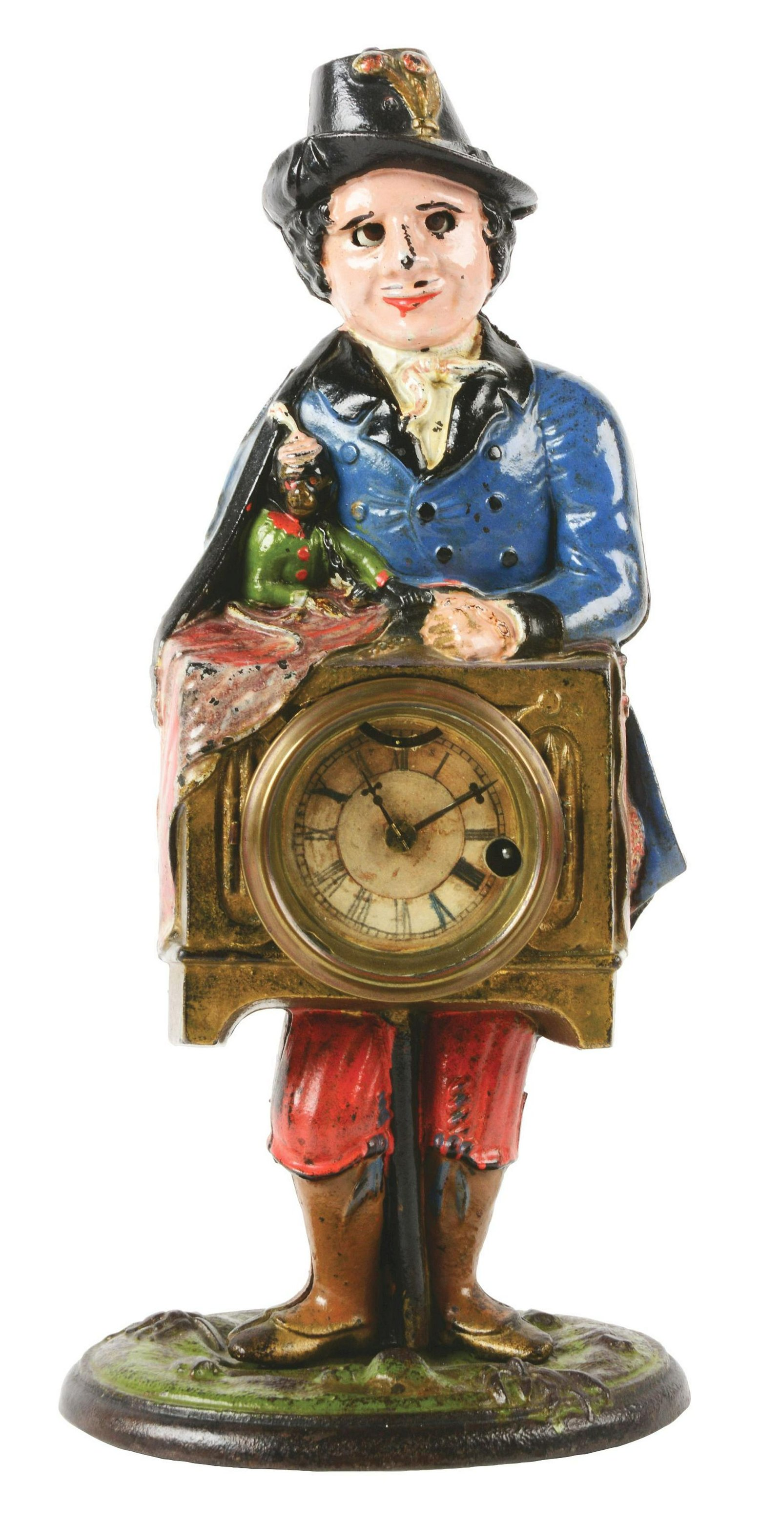 Cast-Iron Monkey & Organ Grinder Blinking Eye Clock.