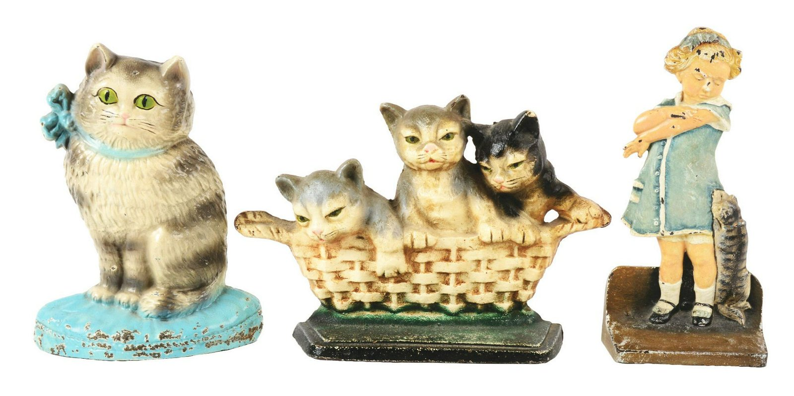 Lot of 3: Cast-Iron Cat & Cat Scratch Fever Doorstop.