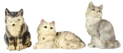 Lot of 3: Cast-Iron Tabby Cat Hubley Doorstops.
