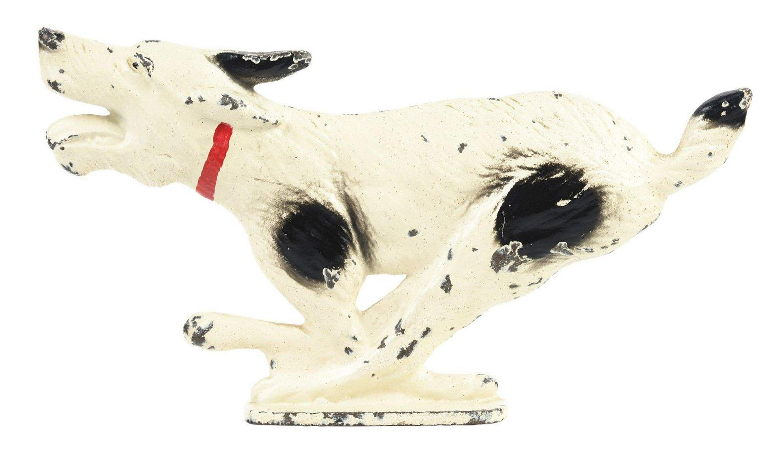 Cast-Iron Running Wirehaired Fox Terrier Doorstop.