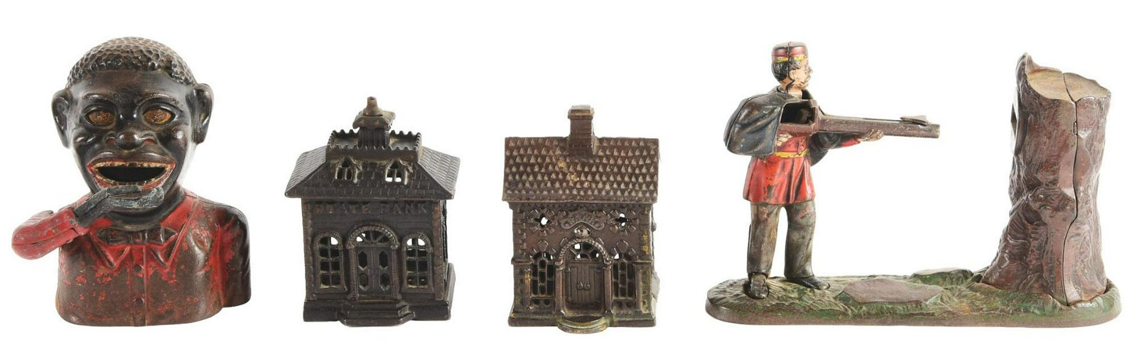 Lot of 4: Cast-Iron Banks.