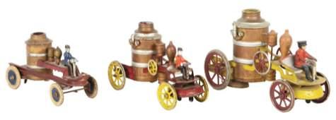 Lot of 3 Pressed Steel Kingsbury Fire Pumper Toys