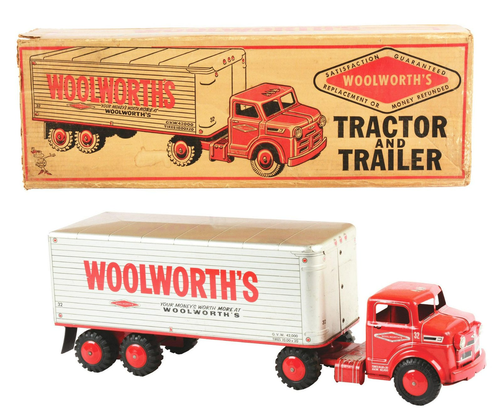 Pressed Steel Marx Woolworth's Tractor & Trailer Truck.