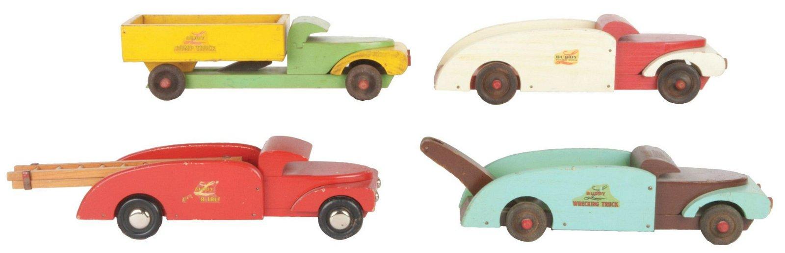 Lot of 4: Buddy L Wooden Trucks.