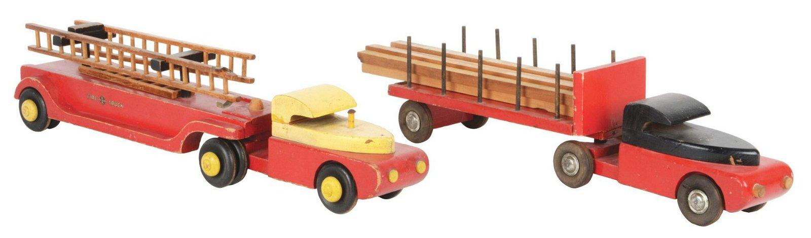 """Lot of 2: Wooden Buddy L 28"""" Trucks."""