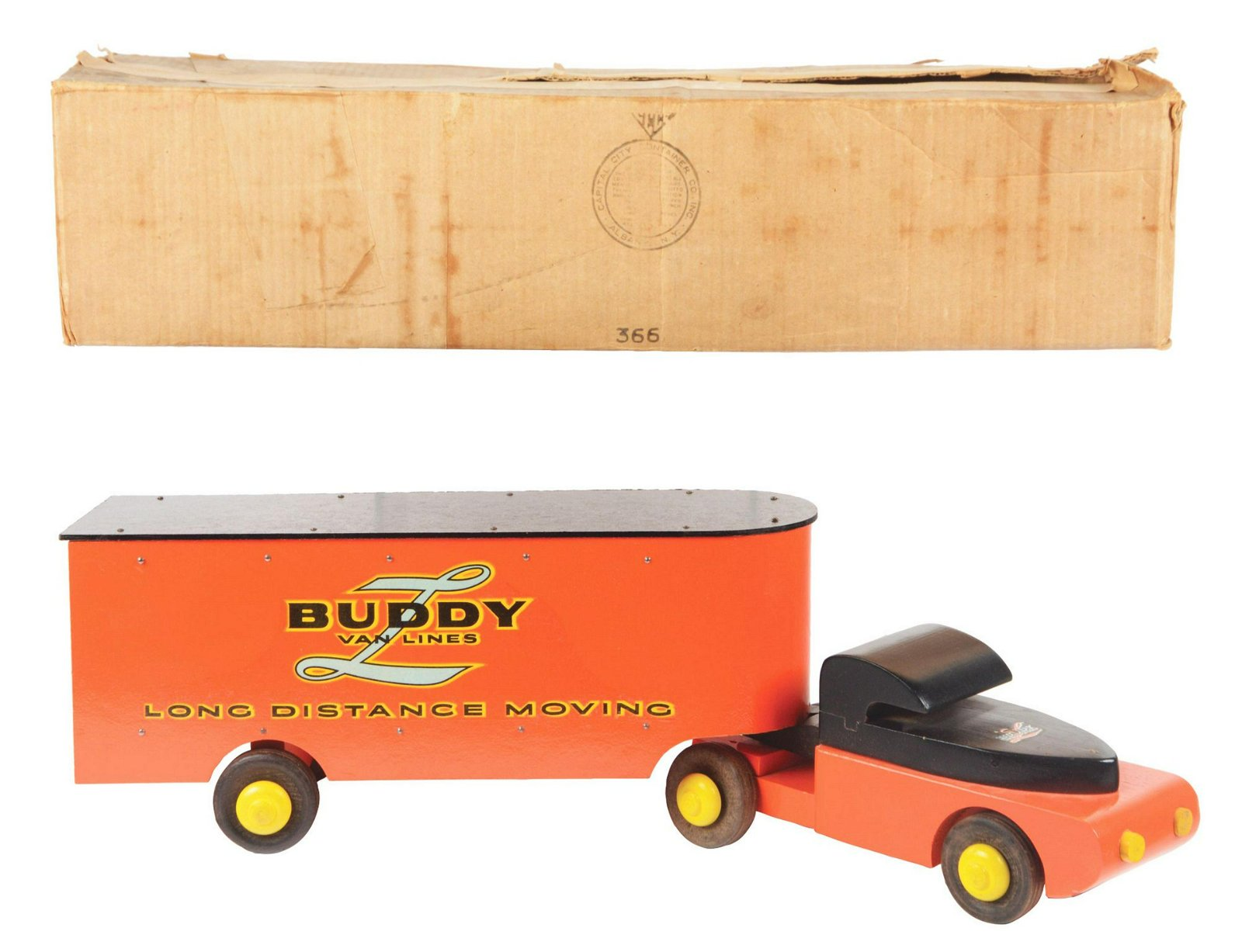 Buddy L Long Distance Moving Truck with Box.