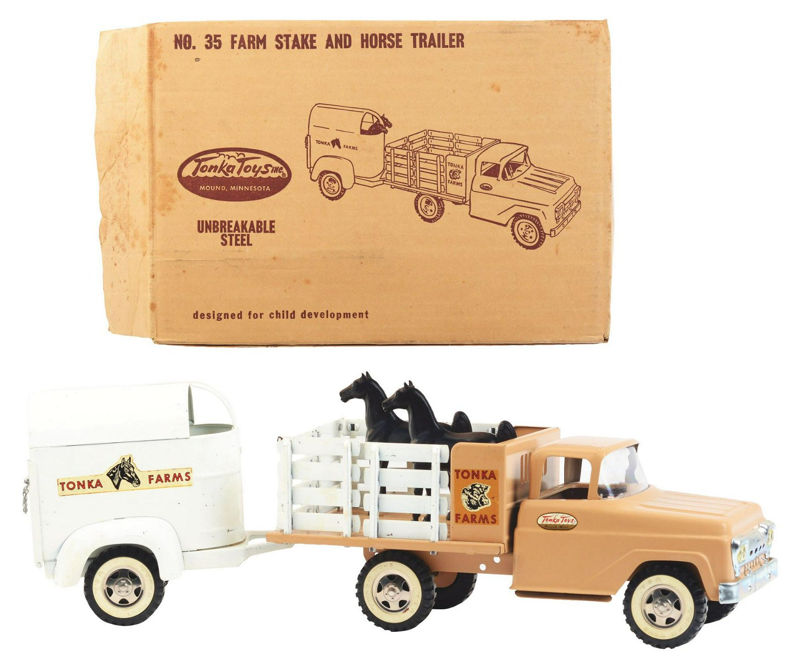 Pressed Steel 1959 Tonka Farms Stake and Horse Trailer
