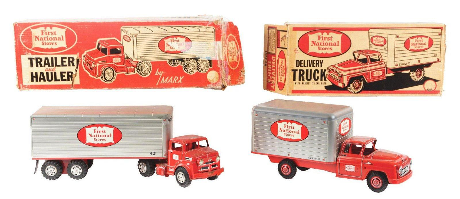 Lot of 2: Pressed Steel Marx First National Box Trucks.