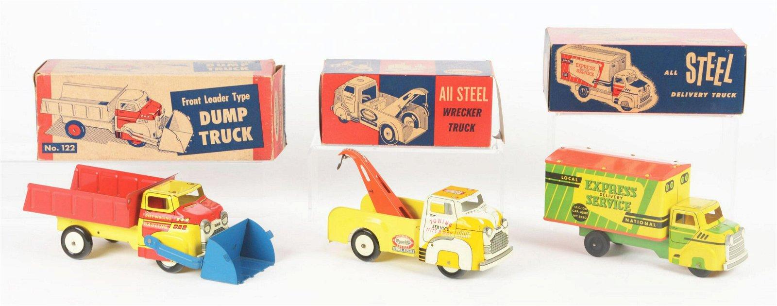 Lot of 3: Small Pressed Steel Wyandotte Toy Trucks.
