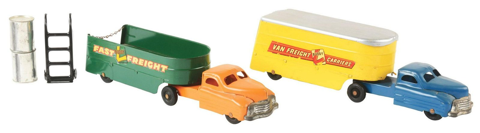 Lot of 2: Buddy L Pressed Steel Trailer Vehicle Toys.