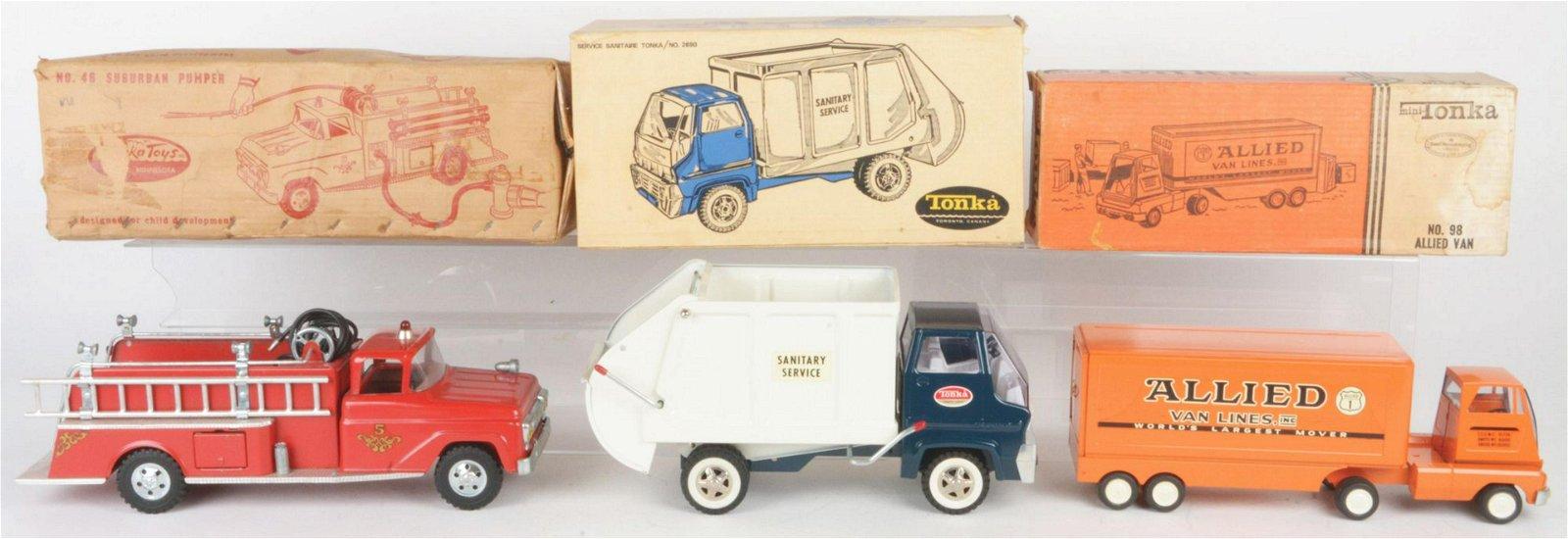 Lot of 5: Pressed Steel & Plastic Tonka Vehicles.