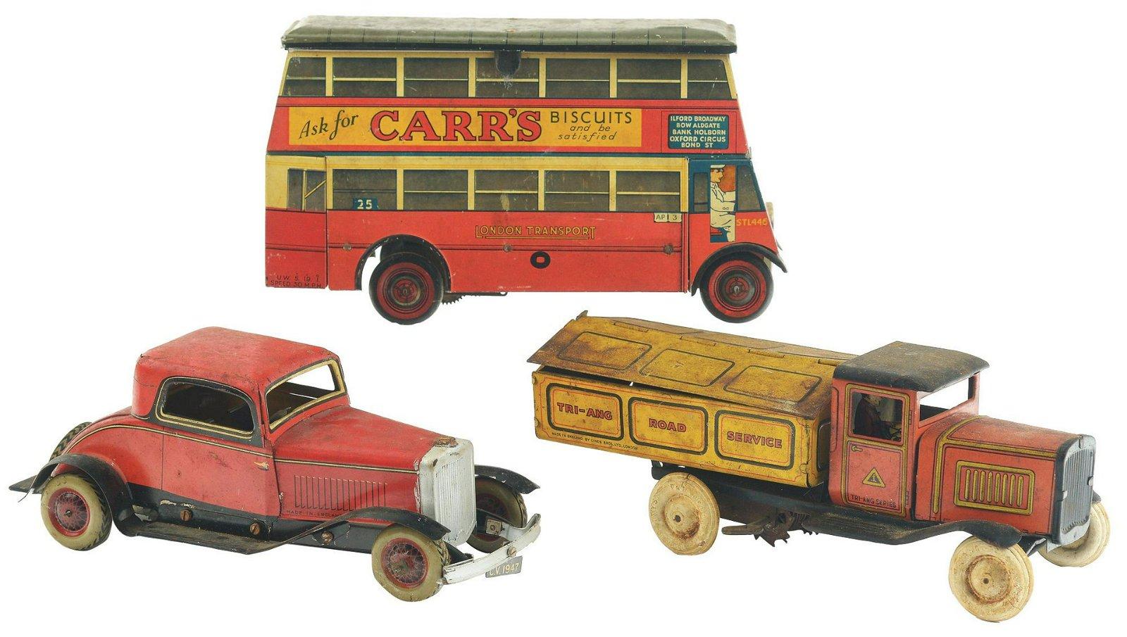 Lot of 3: Tin-Litho Wind-Up English Transportation