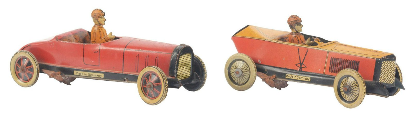 Lot of 2: German Tin-Litho G&K Race Car Toys.