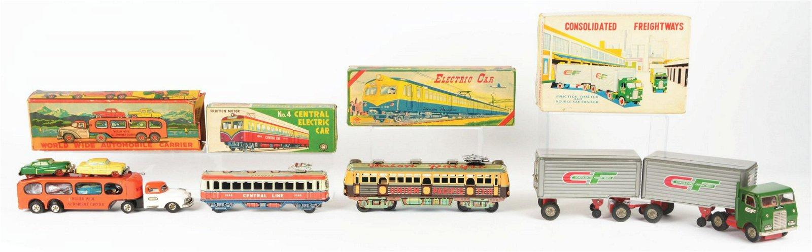 Lot of 4: Japanese Tin-Litho Friction Vehicle Toys in