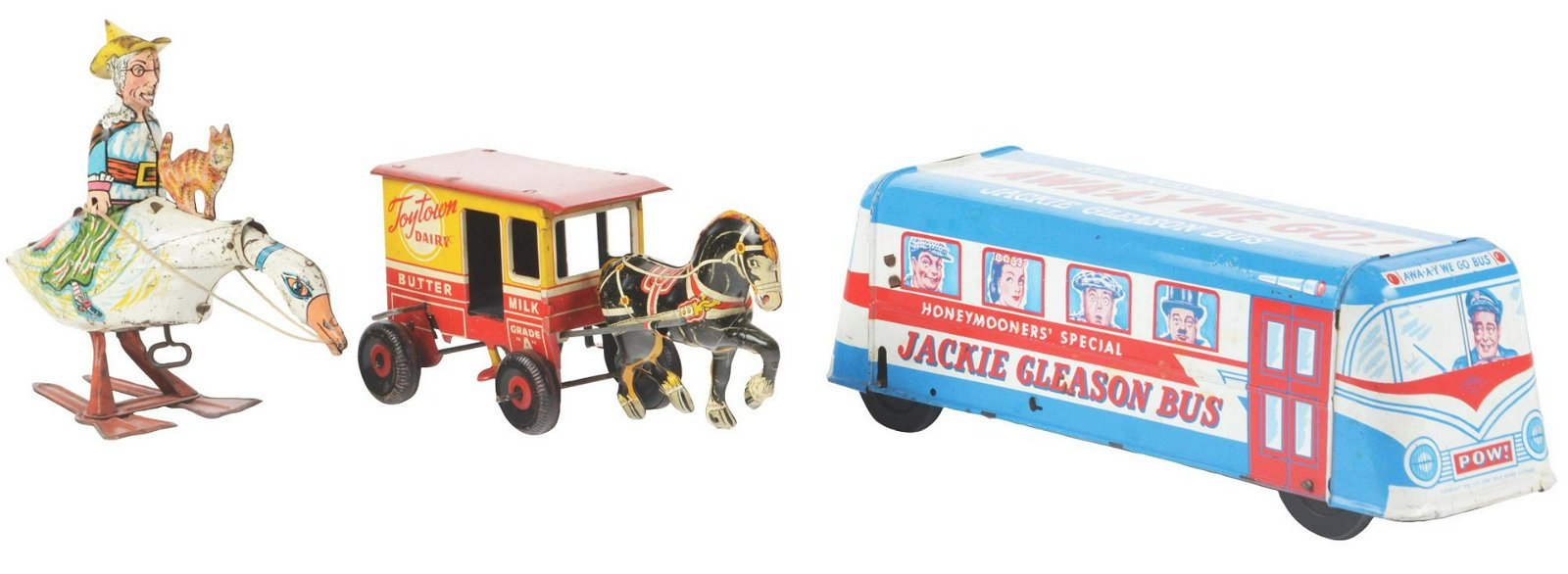 Lot of 3: American Made Tin-Litho Wind-Up Toys.