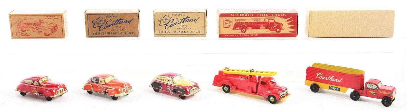 Lot of 5: Tin-Litho Cortland Vehicle Toys.