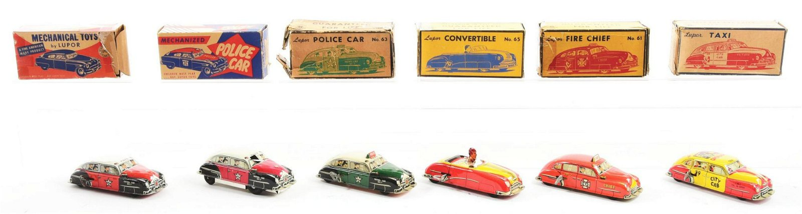 Lot of 6: Lupor Tin-Litho Wind-Up Automobile Toys.