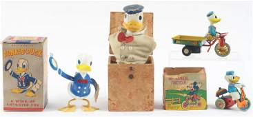 Lot of 4 American  Japanese Made Donald Duck Toys