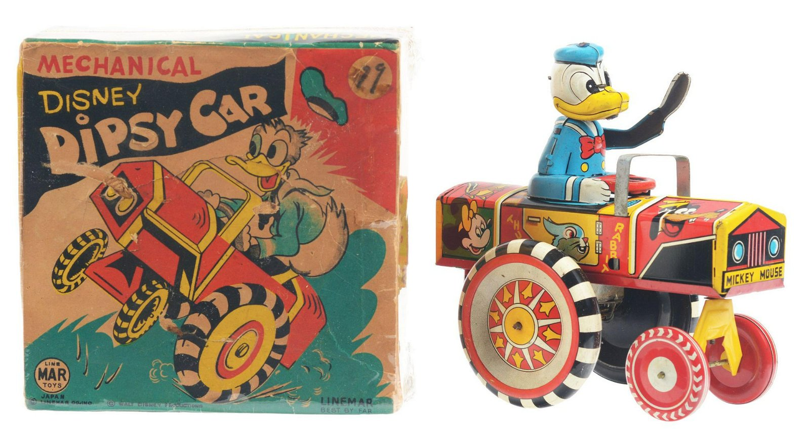 Linemar Walt Disney Tin-Litho Wind-Up Donald Duck Dipsy