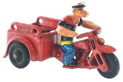 Cast-Iron Hubley Popeye Spinach Patrol Motorcycle.
