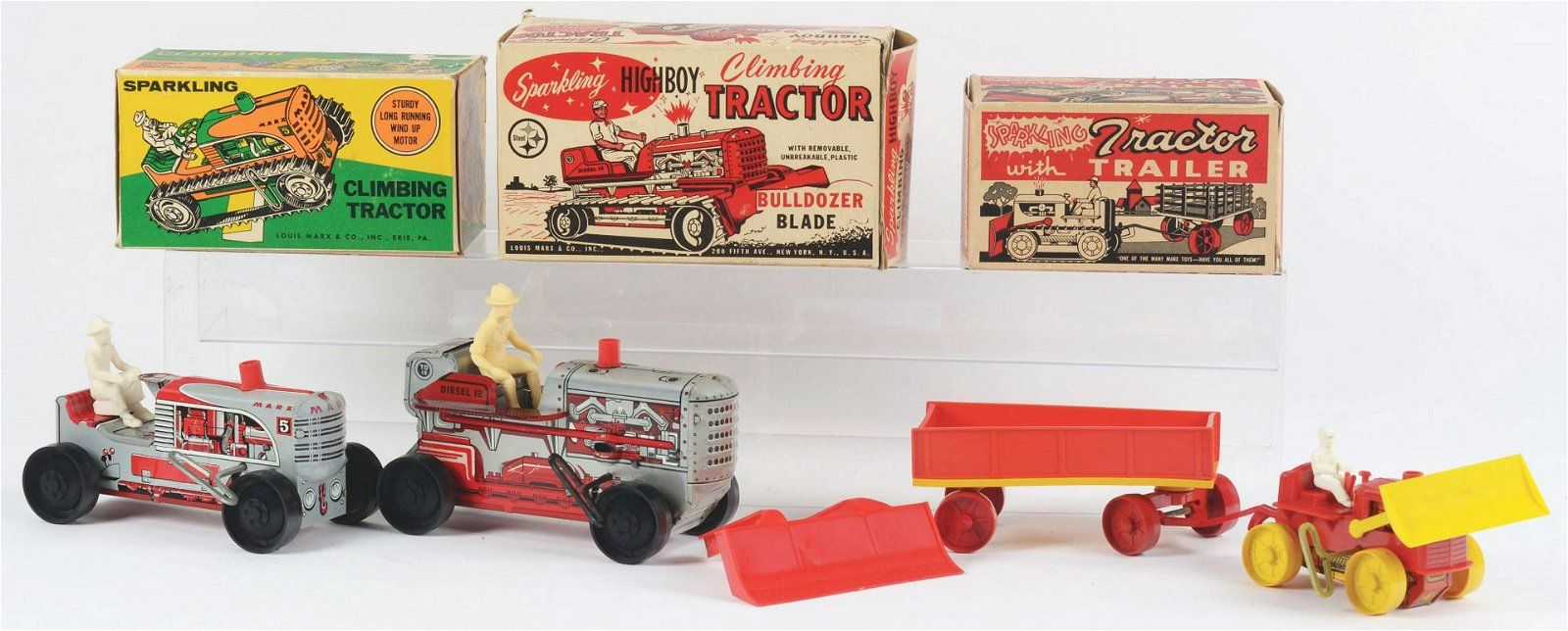 Lot of 3: Marx Tin-Litho Wind-Up Tractor Toys.