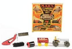 Very Unusual Marx Tin-Litho Climbing Tractor Set.
