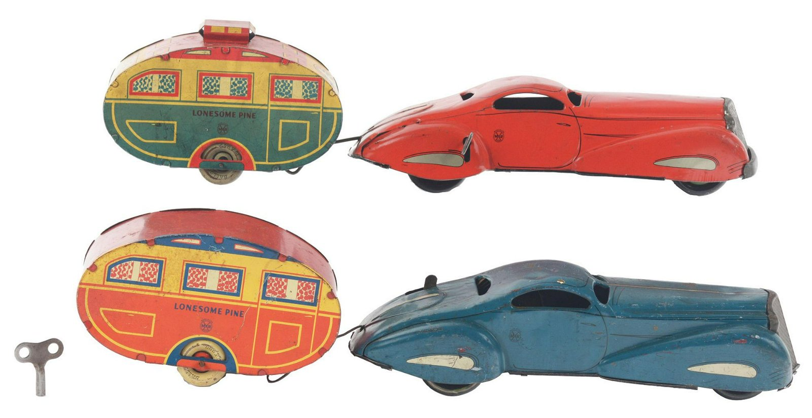 Lot of 2: Marx Tin-Litho Wind-Up Lonesome Pine Car