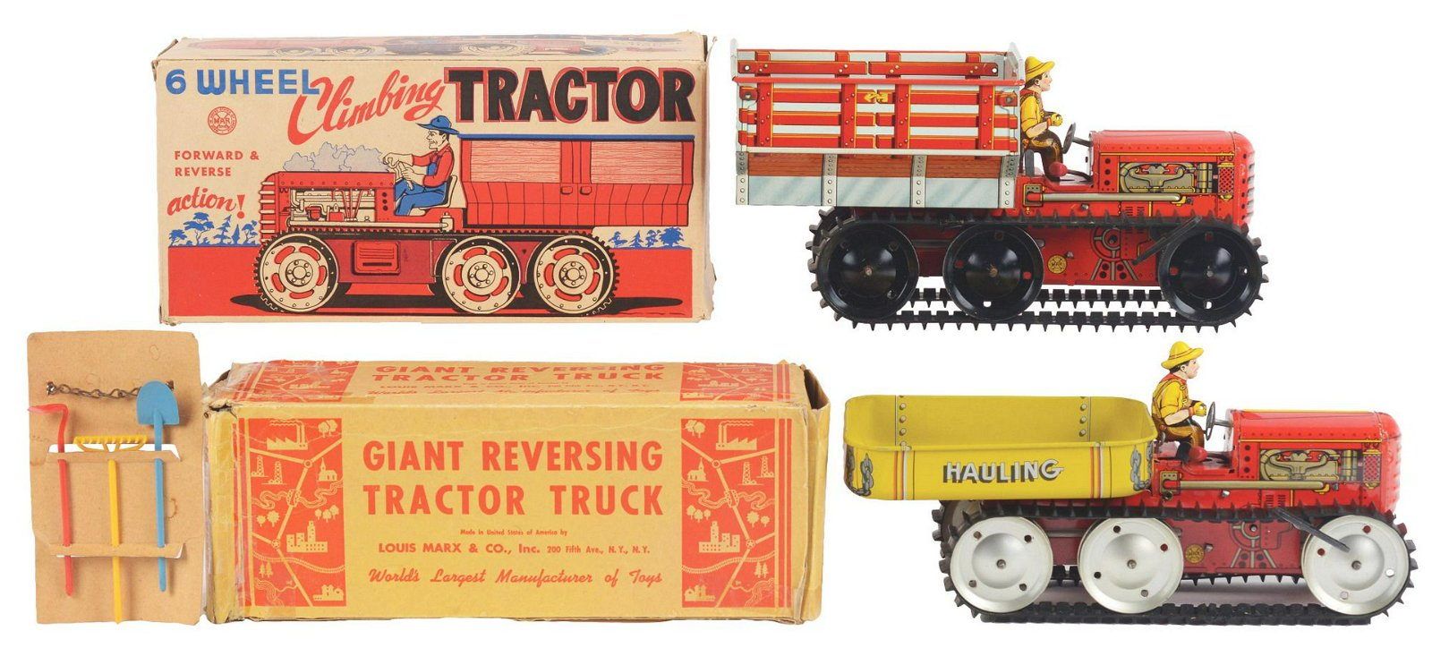 Lot of 2: Marx Tin-Litho Wind-Up Tractor Toys.