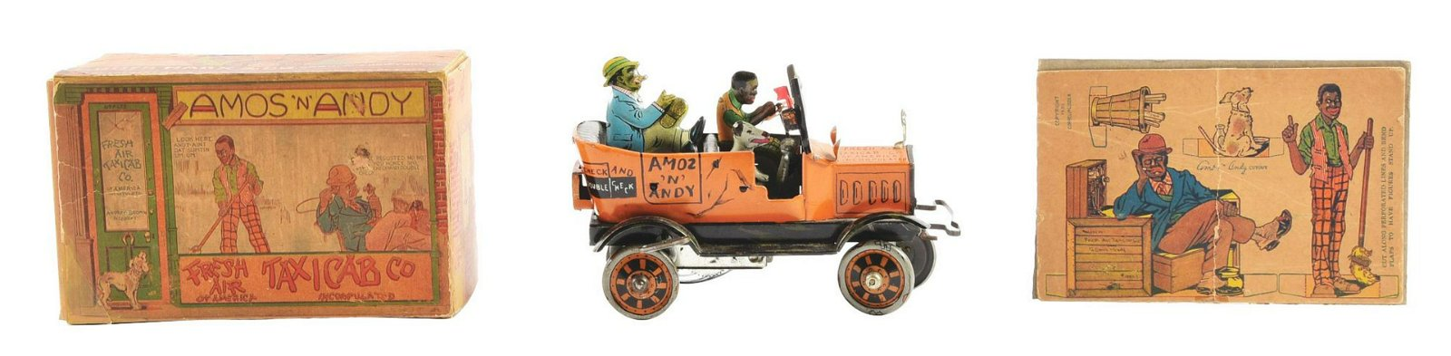 Marx Tin-Litho Wind-Up Amos & Andy Fresh Air Taxi Toy.