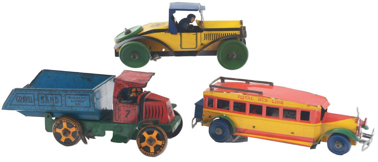 Lot of 3: Marx Tin-Litho Pre-War Wind-Up Transportation