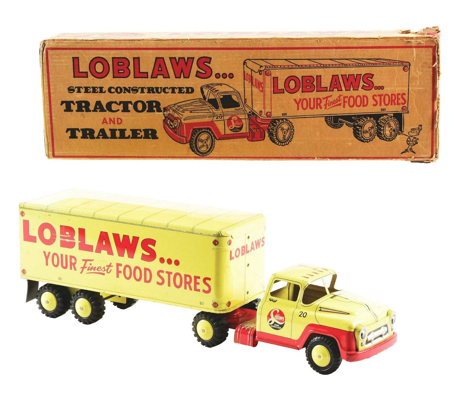 Pressed Steel Marx Loblaws Tractor & Trailer Box Truck.