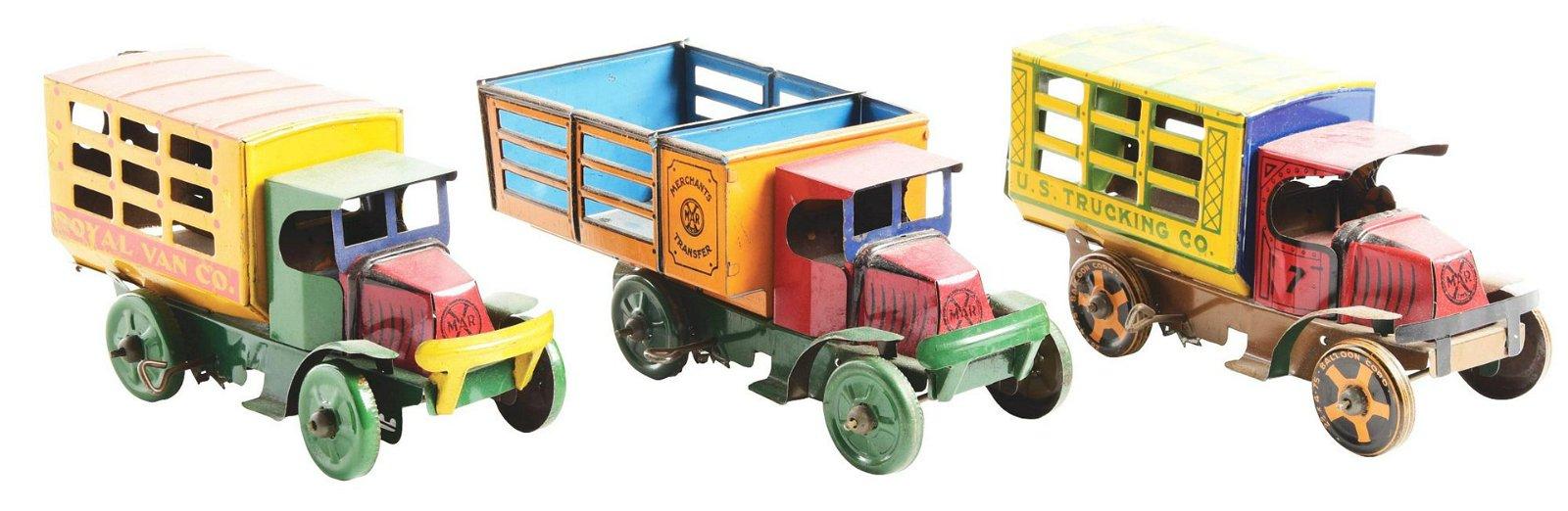 Lot of 3: Early Marx Tin-Litho Wind-Up Commercial Truck