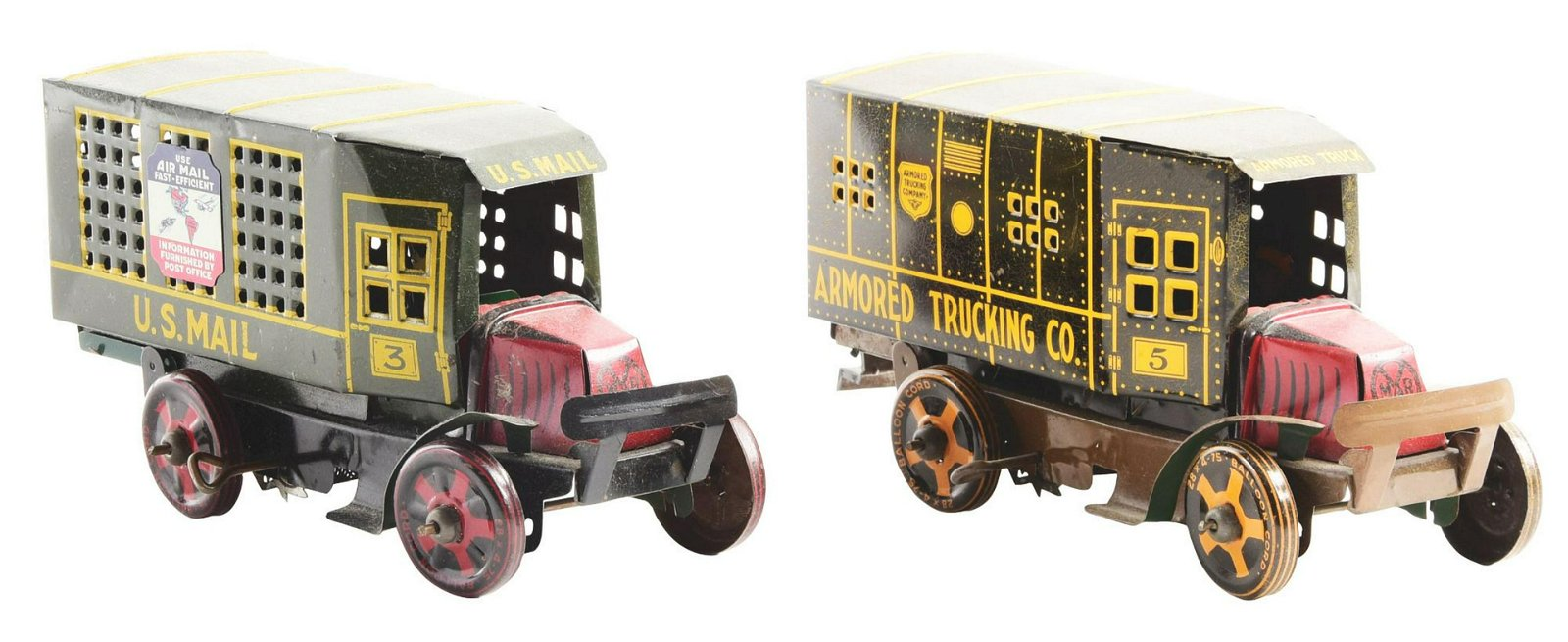 Lot of 2: Marx Tin-Litho Wind-Up Commercial Truck Toys.