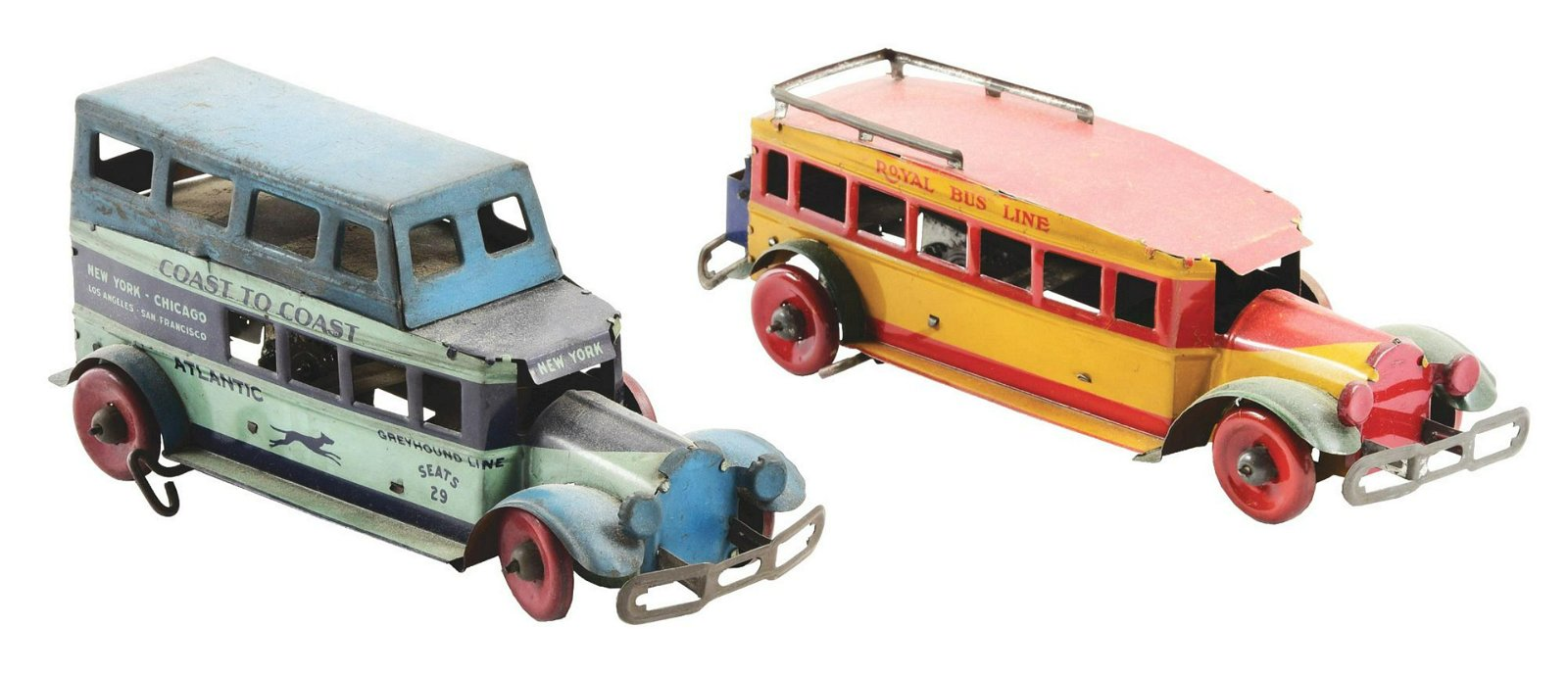 Lot of 2: Pre-War Marx Tin-Litho Wind-Up Bus Toys.
