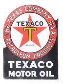 Texaco Black T Motor Oil Porcelain Flange Sign.