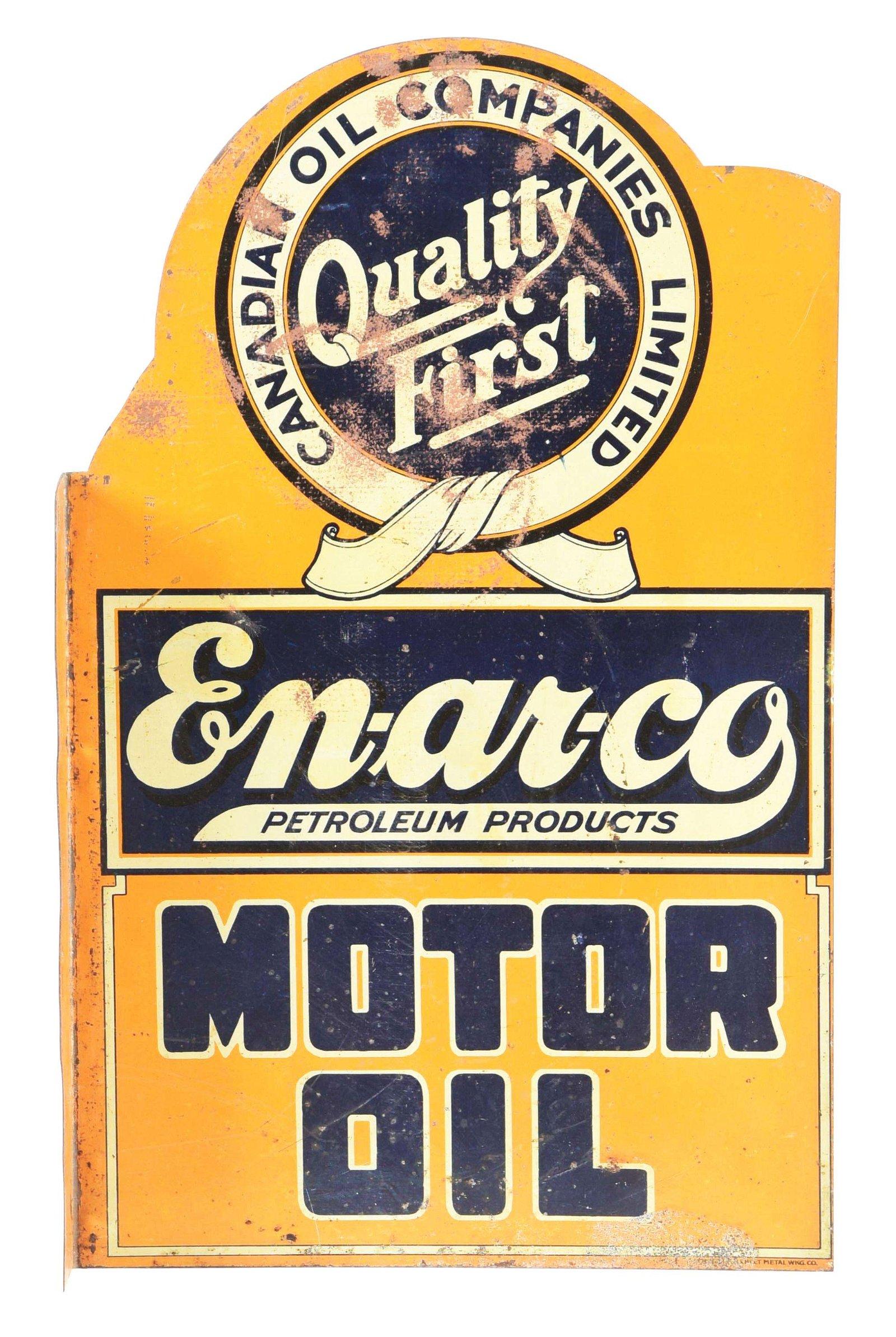 Enarco Motor Oil Die Cut Tin Flange Sign.
