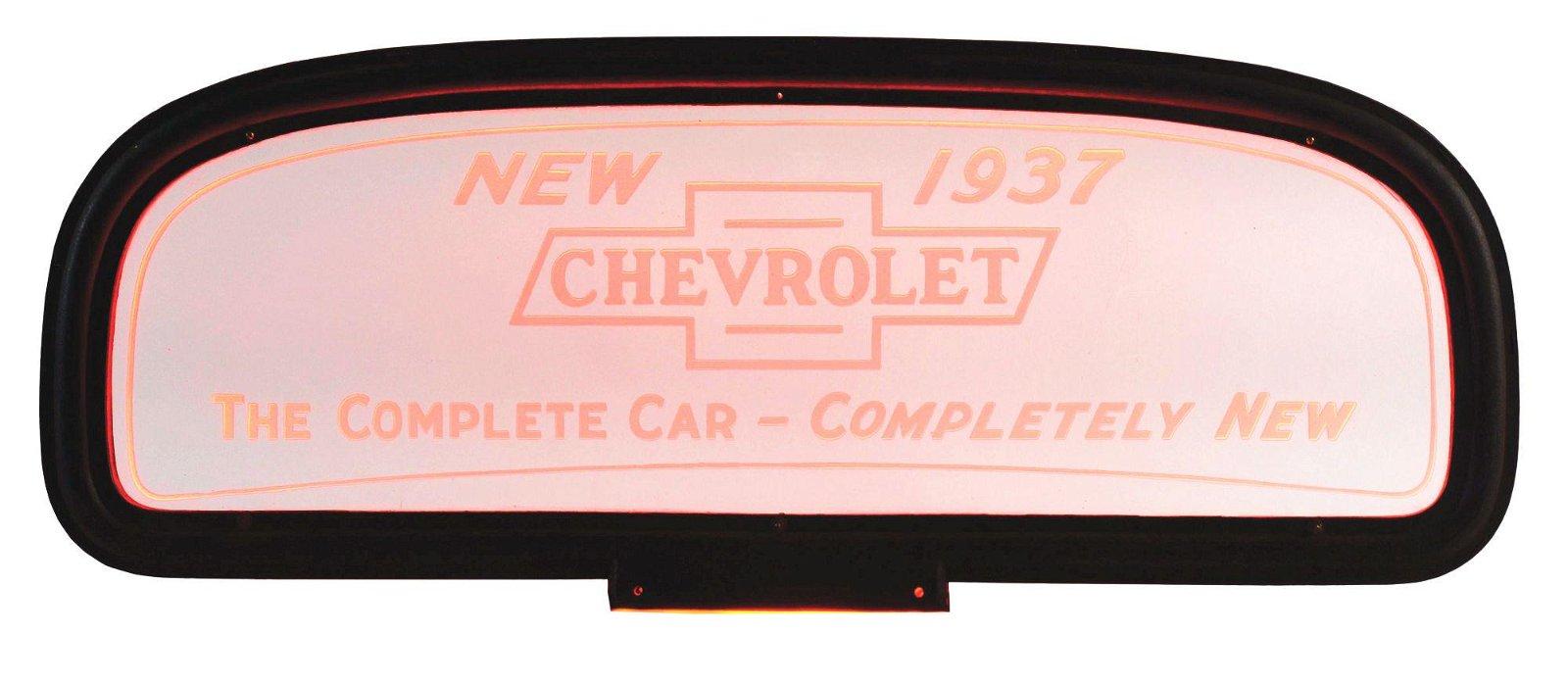 Rare 1937 Chevrolet Neon Glass Dealership Window